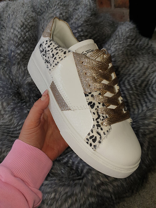Funky white black and gold fashion trainers