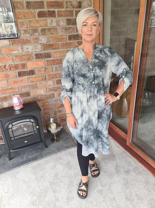 Grey and white tye dye tunic dress