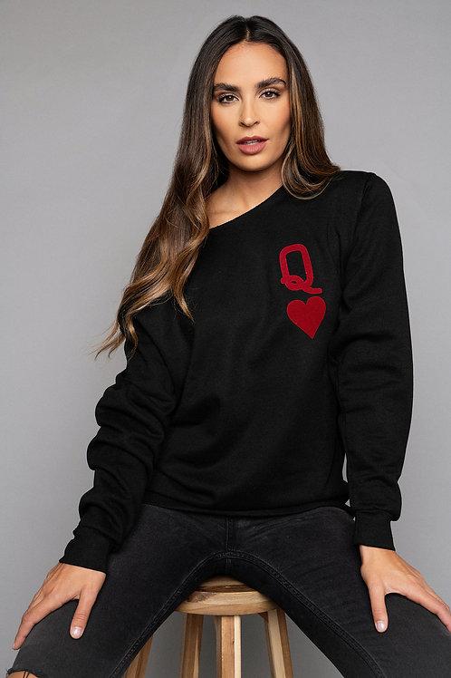 Black Queen of hearts sweatshirt  by James Steward