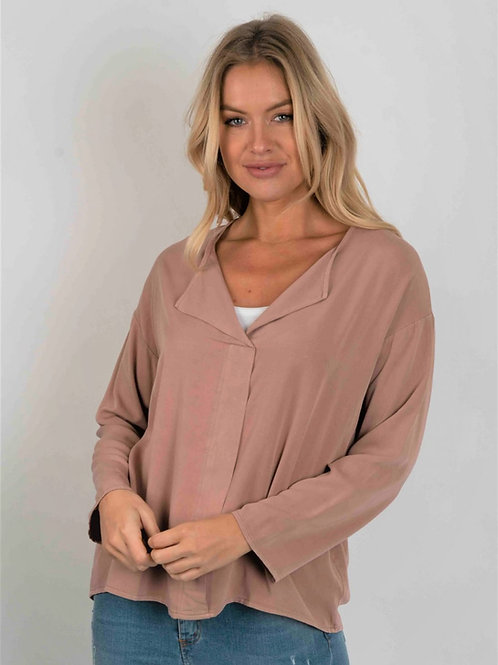 Pink pleat front shirt