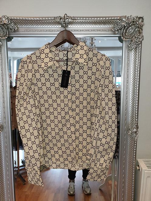 Beige and black designer inspired shirt
