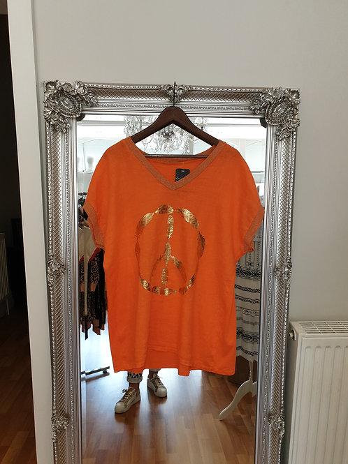 Orange linen top with peace logo