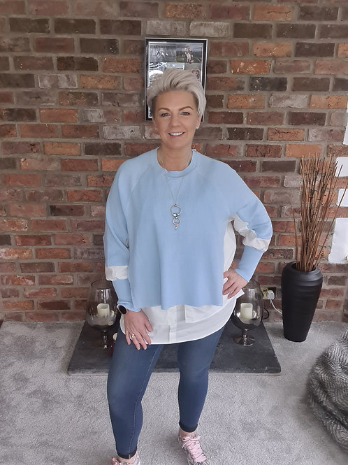 Pale blue jumper with shirt trim