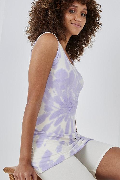 Lilac and white tye dye vest by Sundae Tee