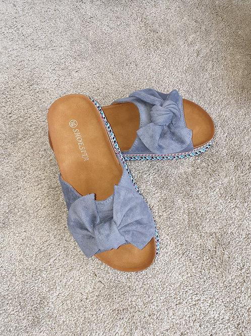 Blue suede sliders