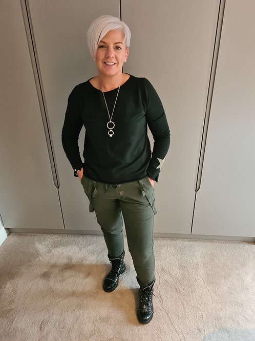 Khaki button front relaxed pants with side strap