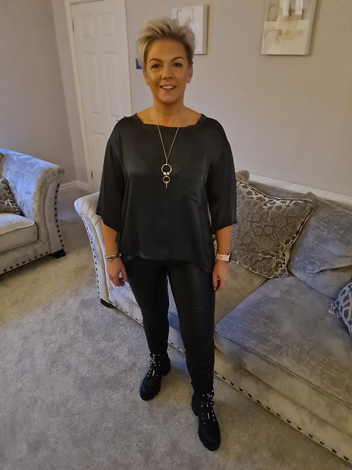 Grey silk front top by Suzy D london