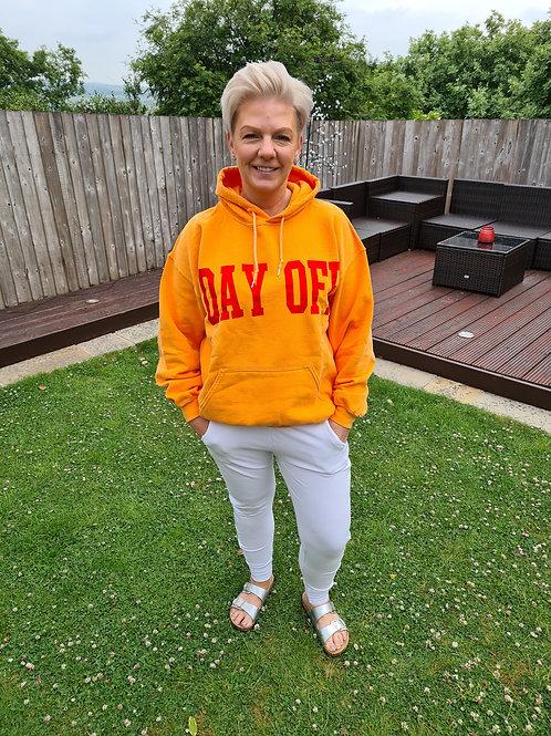 Orange 'DAY OFF' hoodie by Sundae  Tee