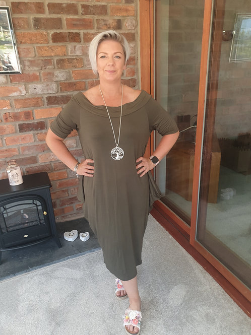 Off the shoulder khaki parachute dress