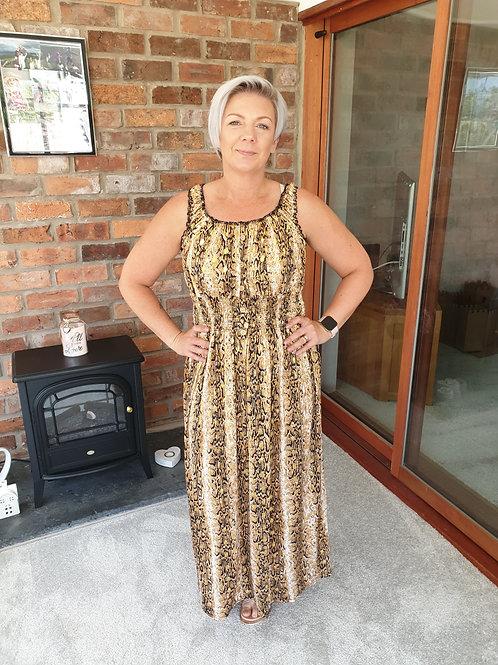 Gold snake print dress