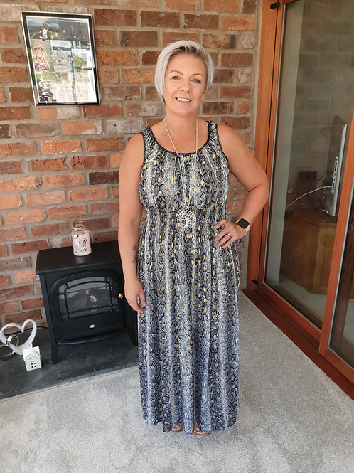 Grey snake effect maxi dress
