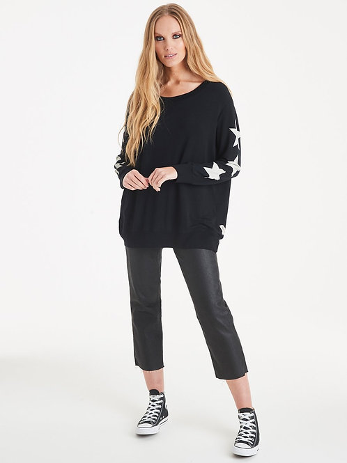 Black starry sleeve sweat by A postcard from Brighton