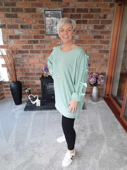 Sage Bow Sleeve Tunic