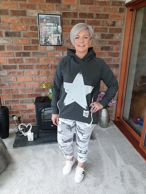 Grey star front hoodie