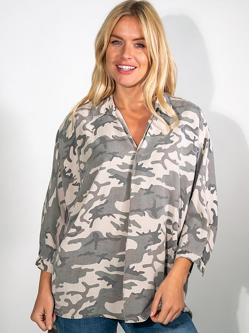 Olive camouflage print shirt by Suzy D London