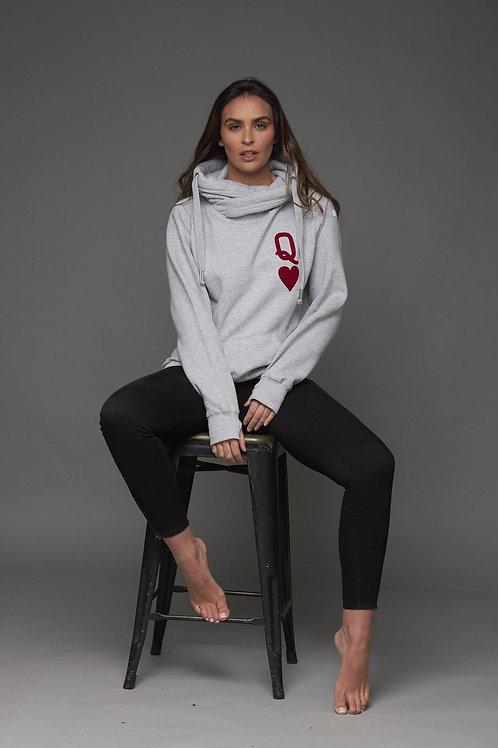 Grey queen of hearts luxe hoodie by James Steward