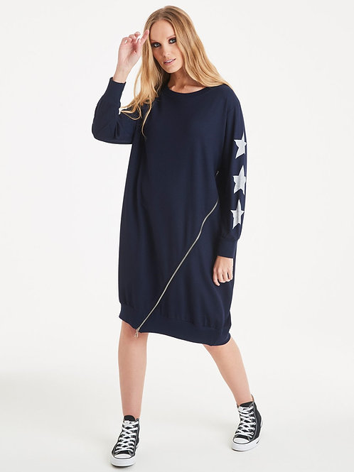 Navy starry sleeves zip sweat dress by A postcard from Brighton