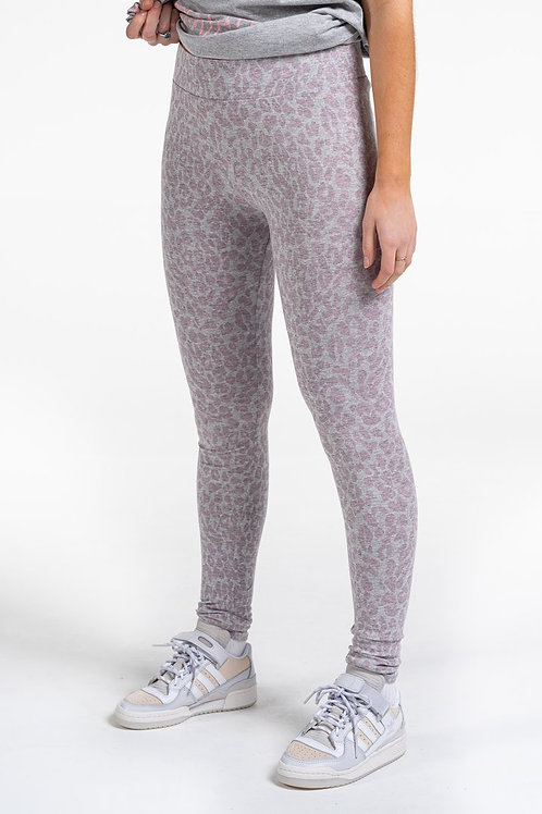 Light grey and pink animal print leggins by Sundae Tee