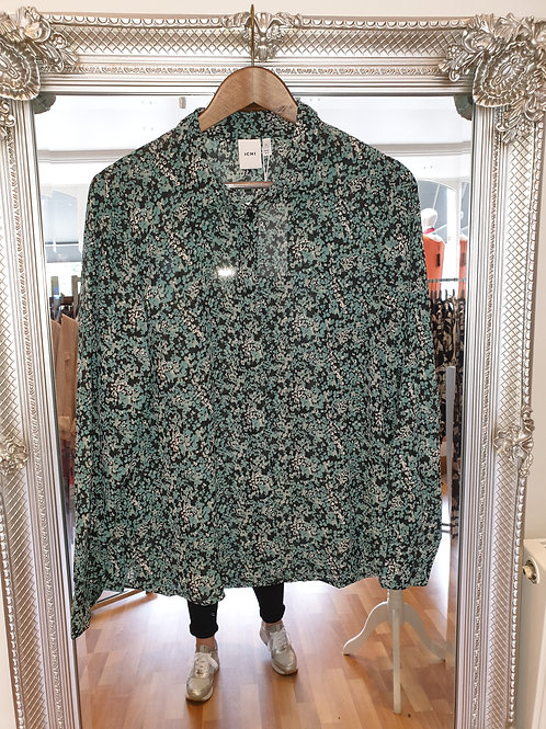 Teal and black flower shirt from ICHI