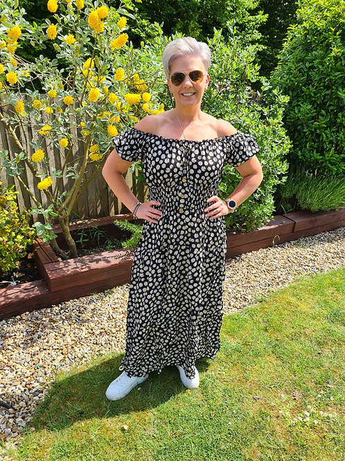 Black daisy print bardot dress.