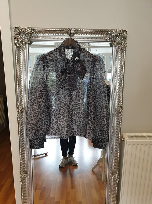 Grey animal print blouse with pussy bow neck