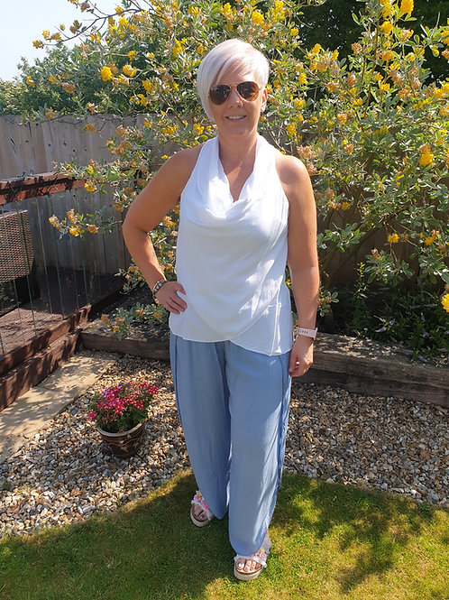 Pale blue silk trousers