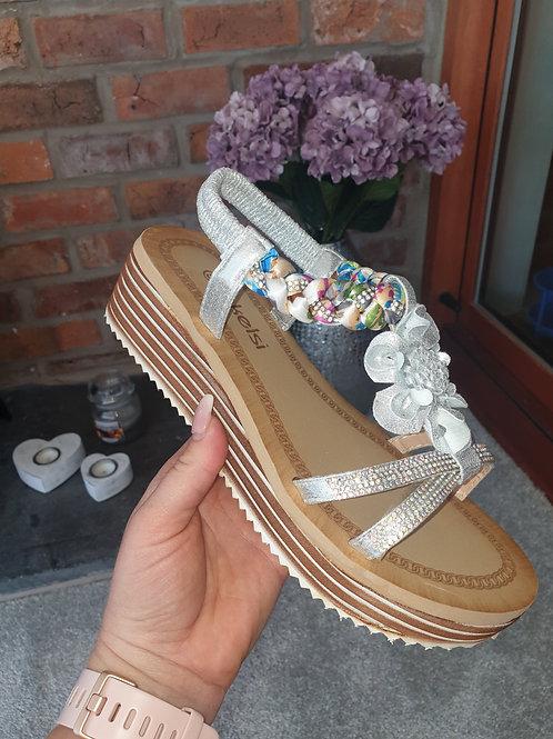 Silver plait wedge sandals