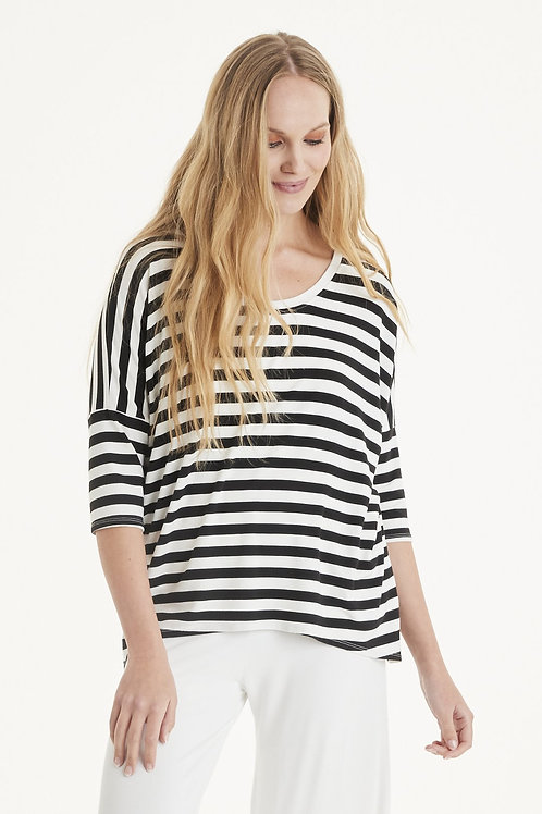 Haylee black and cream stripe top by A postcard from Brighton