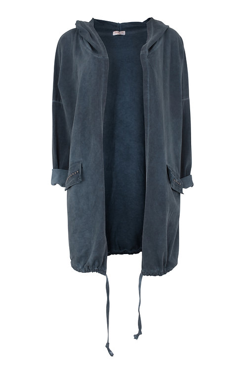 Hooded washed jersey jacket with stud detail
