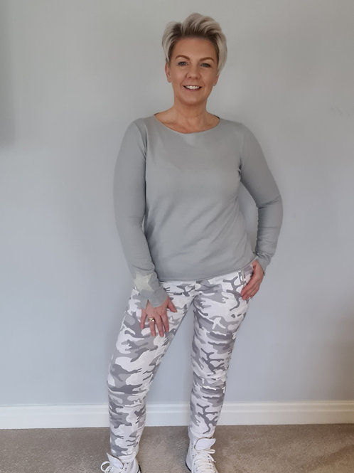 Light grey camouflage trouser by Suzy D London