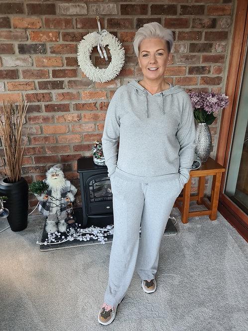Pale grey wide leg jogger by ICHI