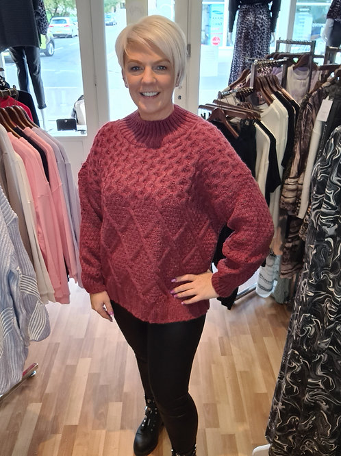 Berry chunky knit jumper by Cara and the sky