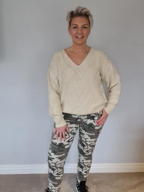 Khaki camouflage trouser by Suzy D London