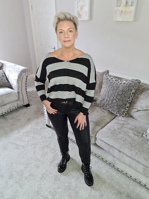 Oversized wide stripe sweater by Suzy D London