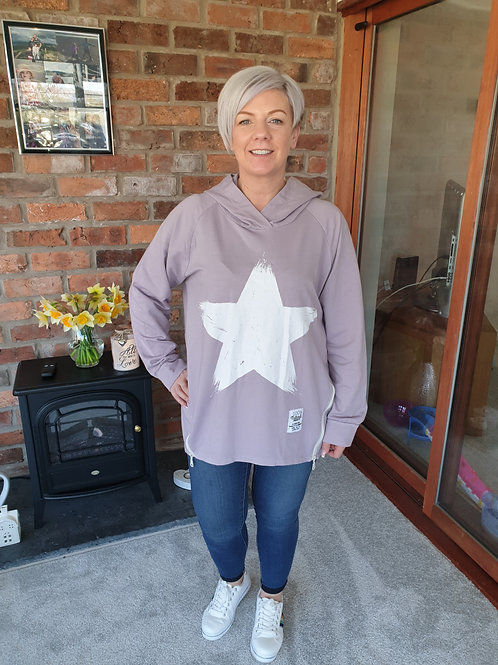 Lilac star front hoodie