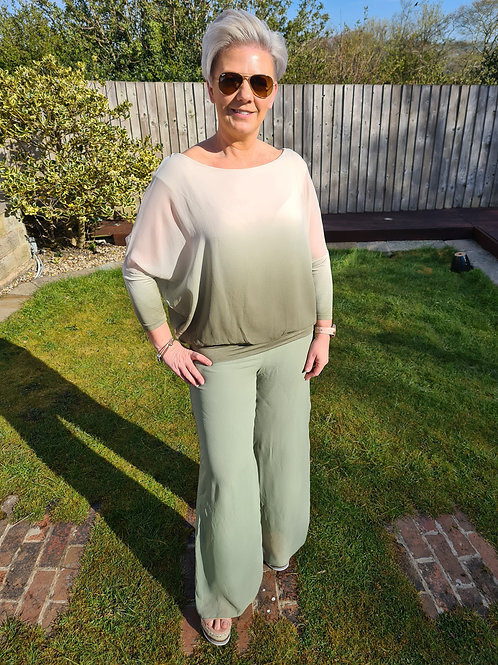 Khaki dip dye chiffon top by Suzy D London