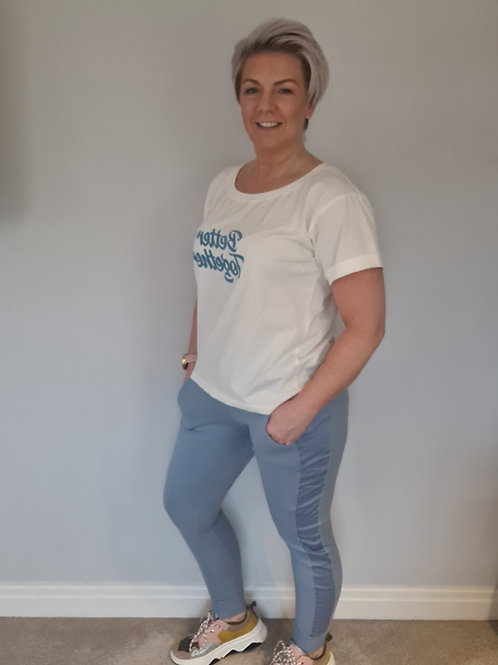 Powder blue ultimate jogger by Suzy D London