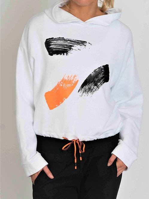 White fluro splodge hoodie