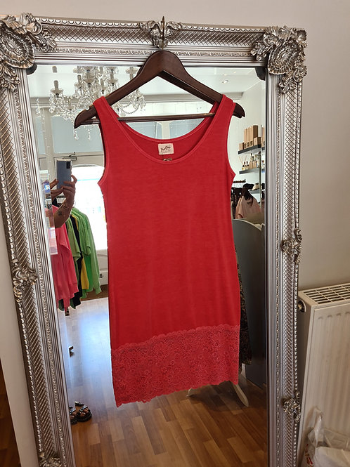 Cherry red lace hem layering vest by A Postcard from Brighton