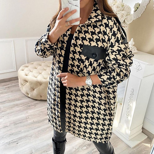 Black and beige dog tooth jacket