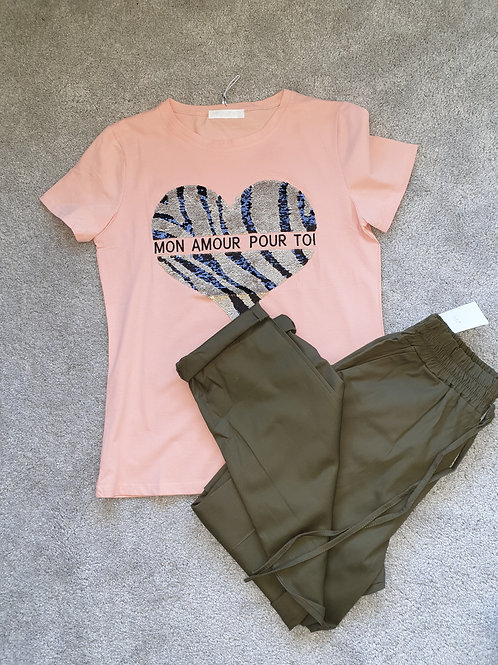 Peach tee with sequin heart detail