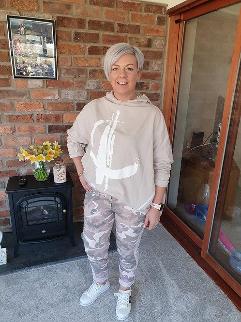 Lightweight denim camouflage joggers