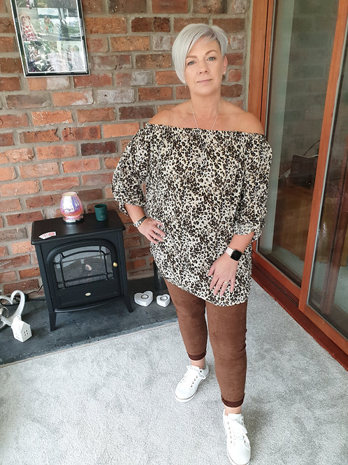 Brown and beige bardot top