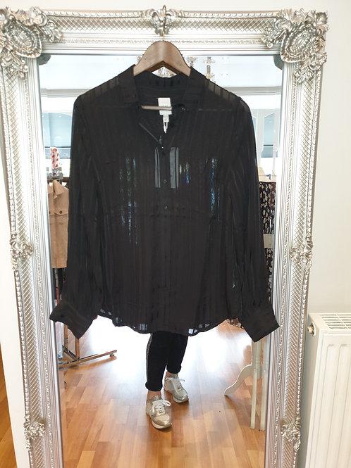 Black stripe chiffon shirt by ICHI