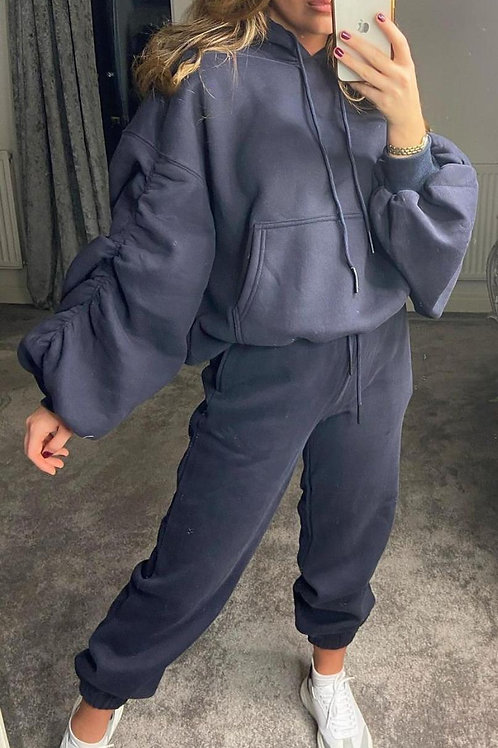 Navy rouched sleeve hoodie