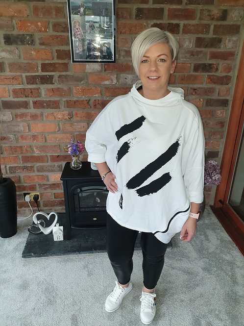 White Oversize Hoodie With Side Zip