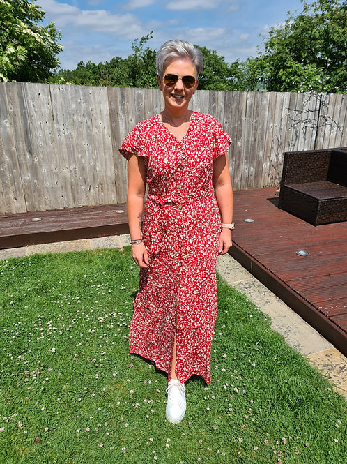 Red floral maxi dress.