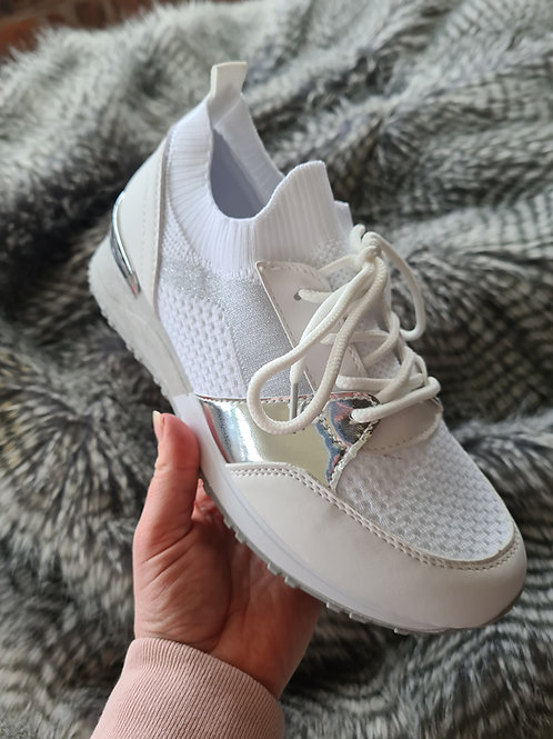 White low wedge fashion trainer