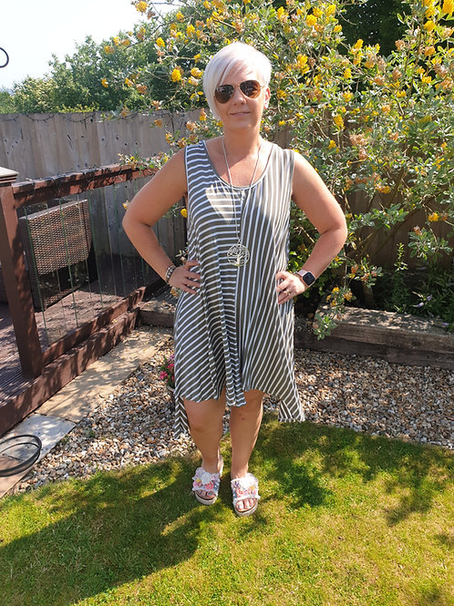 Stripe handkerchief dress.
