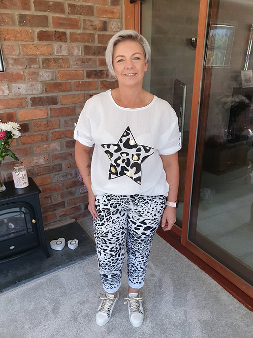 Black and white animal print jogger. One size fitting up to a size 14 to 16
